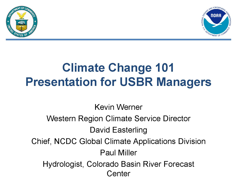 climate change orientation series bureau of reclamation