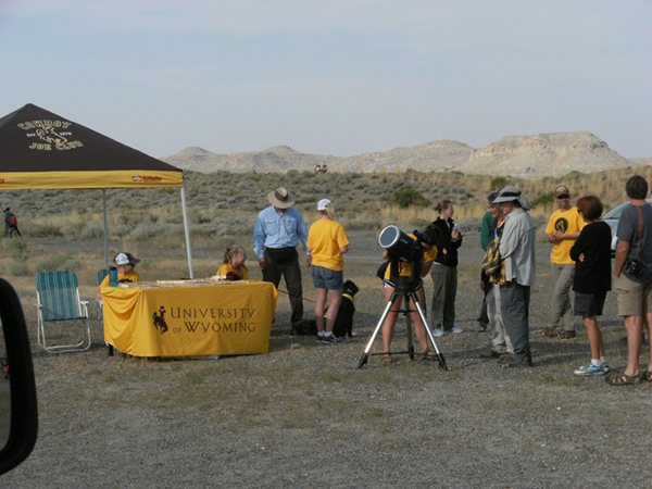 University of Wyoming astronomical group set up at Boysen Reservoir.
