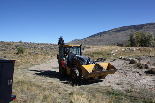 Placing boulders at Green Mountain Reservoir to prevent unauthorized boat launches.