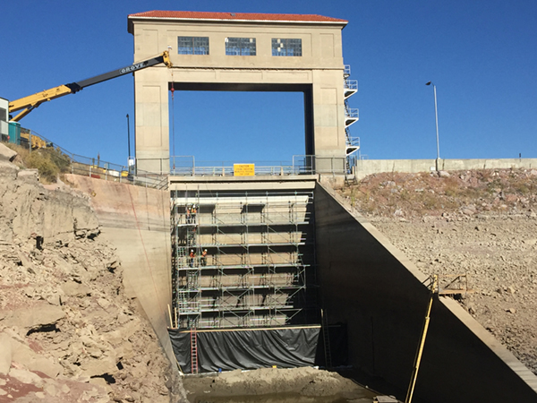 Upstream side of spillway gate with contractor's scaffolding.