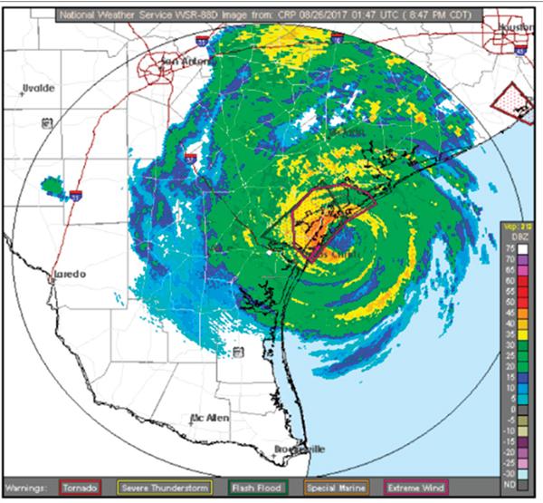 National Weather Service radar. August 25, 2017.