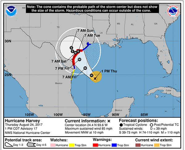 National Weather Service projected track of Hurricane Harvey.