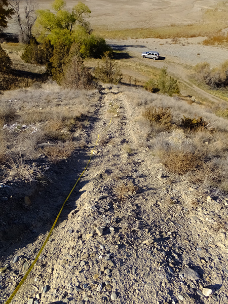Steep hillsides marred by OHV use cannot regenerate on their own due to increased erosion after rainfall.