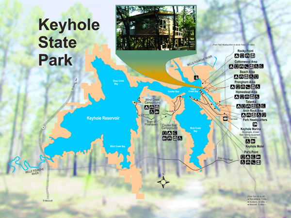Map of Keyhole State Park showing location of the treehouse cabin rental.