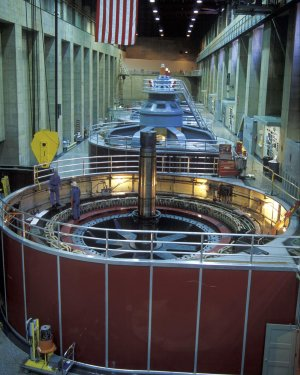 Working on a generator in the Hoover Dam Powerplant