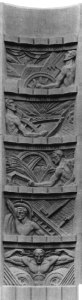 Photo - The five bas-reliefs on the Nevada elevator tower, done in concrete, show the multipurpose benefits of Hoover Dam: flood control, navigation, irrigation, water storage, and power.