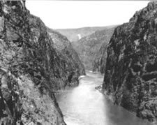 Photo. View of dam site before construction began.