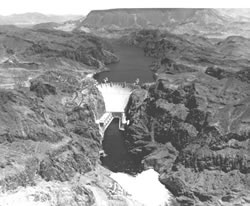 Aerial view of Hoover Dam and Lake Mead. BOR photo p45-3000-01501.