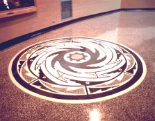 Photo of Native American motif in terrazo floor at Hoover Dam.