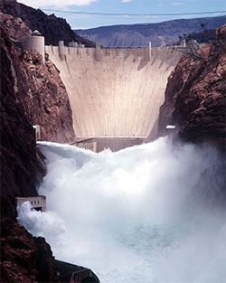 Water being bypassed around Hoover Dam through jet flow gates.  Click for larger image.