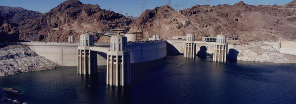 Panoramic view of Hoover Dam and Lake Mead