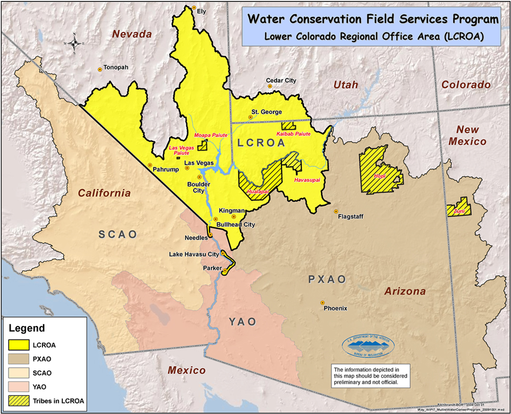 Map Of Arizona Utah.Bureau Of Reclamation Lower Colorado Region Water Conservation