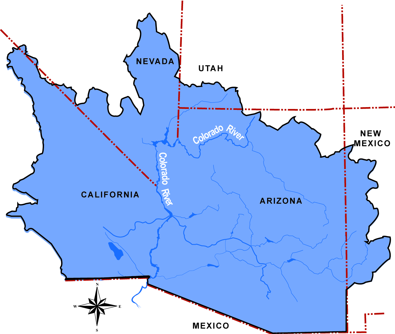 Lower Colorado Region Bureau Of Reclamation - Us Map With Arizona Highlighted