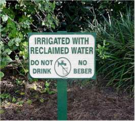 Sign showing garden irrigated with reclaimed water