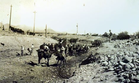 The Consolidated Canal was constructed in 1891 by the Consolidated Canal Company founded by A. J. Chandler.  It extended the Mesa canal some 19 miles south to the boundary of the Gila River Indian Reservation.  This 1920 photograph shows work being done on a portion of the canal. (Reclamation photograph)