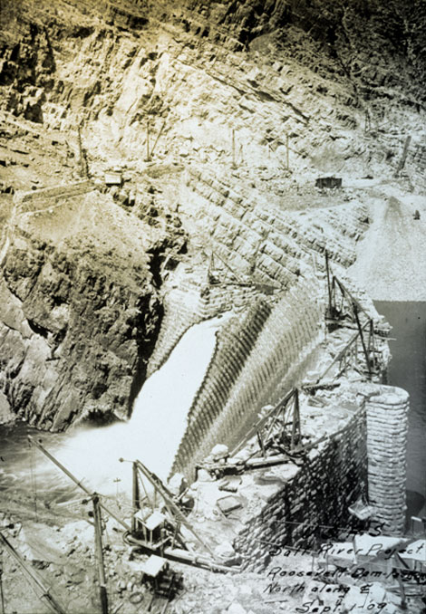 Lubken primarily documented the construction of Roosevelt Dam while in Arizona. This 1909 photograph shows the massive wall of the dam still under construction. (Reclamation photograph)