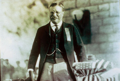 President Theodore Roosevelt at the formal dedication of Roosevelt Dam, March 18, 1911. (Reclamation photograph)