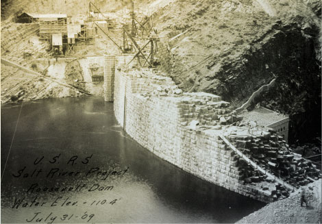 View of the dam, 1909. (Reclamation photograph)