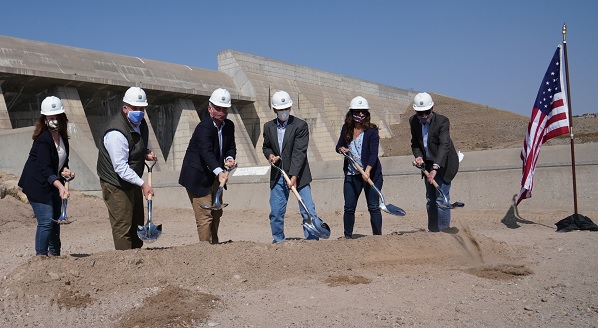 Department of the Inteterior Secretary Bernhardt, Commissioner Burman and other attendees participate in a kickoff event for the construction of the Arkansas Valley Conduit Project at Pueblo Dam in Colorado on October 3, 2020.