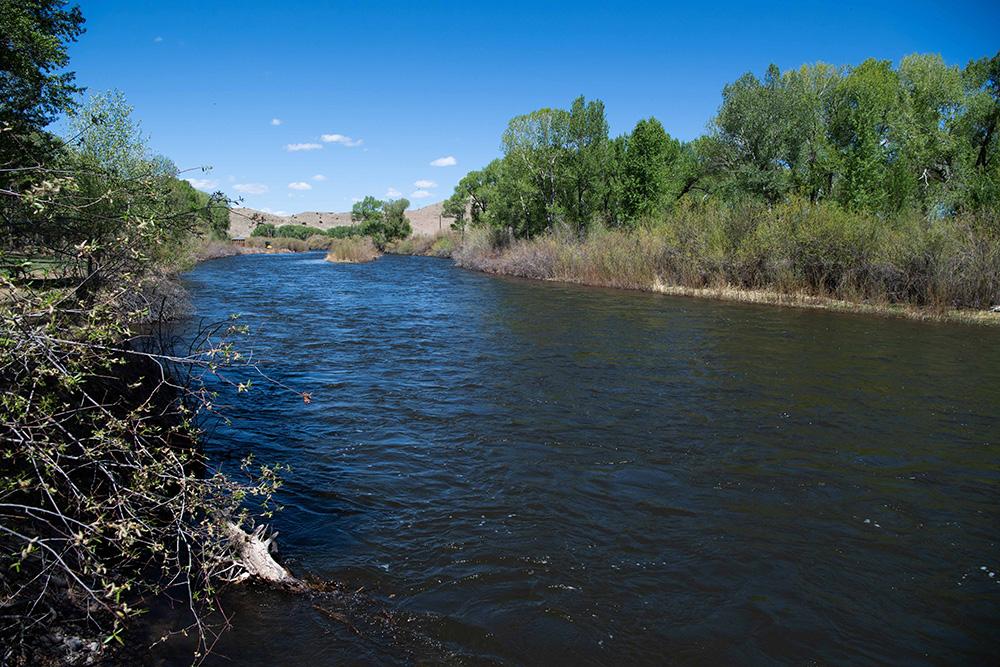 Photo of Rio Grande flowing through the Colorado town of Del Norte.