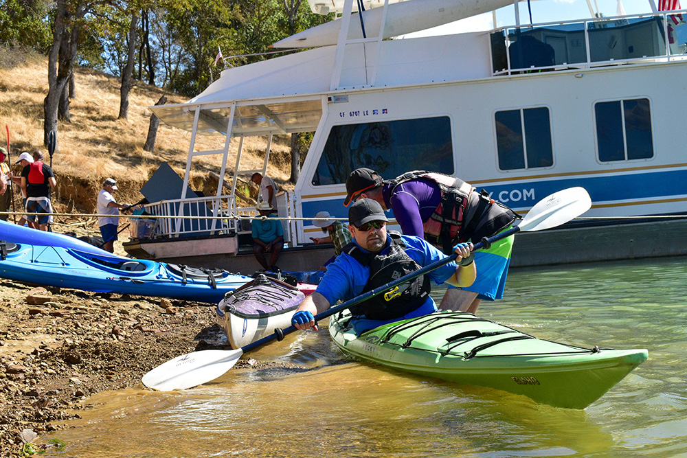 Visually impaired U.S. military veteran kayaking in Lake Berryessa Sept. 19, 2019 (USBR photos/Todd Plain)