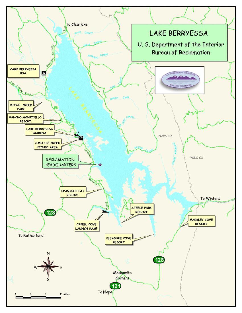 Lake berryessa map my blog for Berryessa fishing report