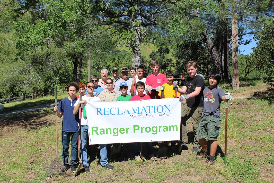 Herms Scouts and Lake Berryessa Park Rangers pose after their service project at Dufer Point Visitor Center.