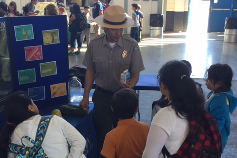 Park Ranger Hugo Martinez answers questions at Solano County Fair Association's 15th annual Youth Ag Day.