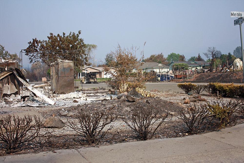 Carr Fire affected neighborhood near Redding, California.