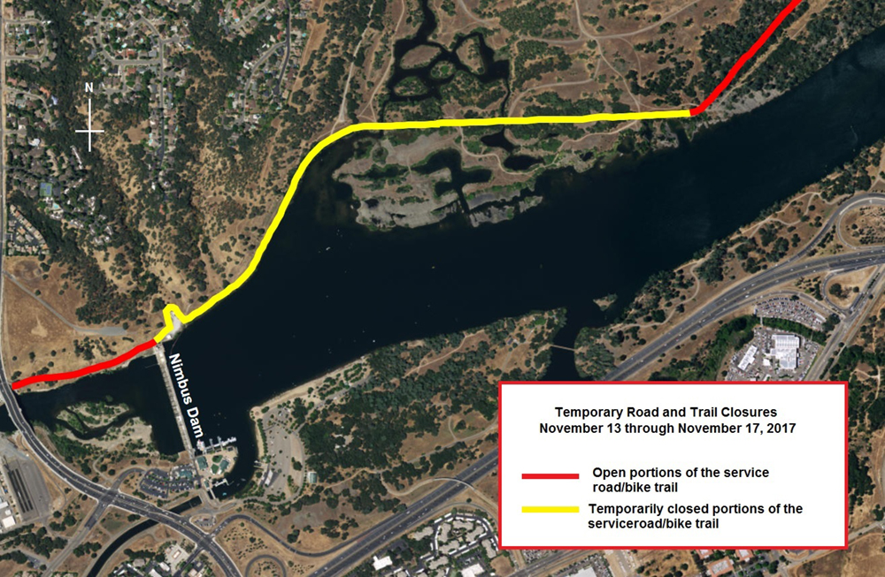Closure of trail indicated by yellow line