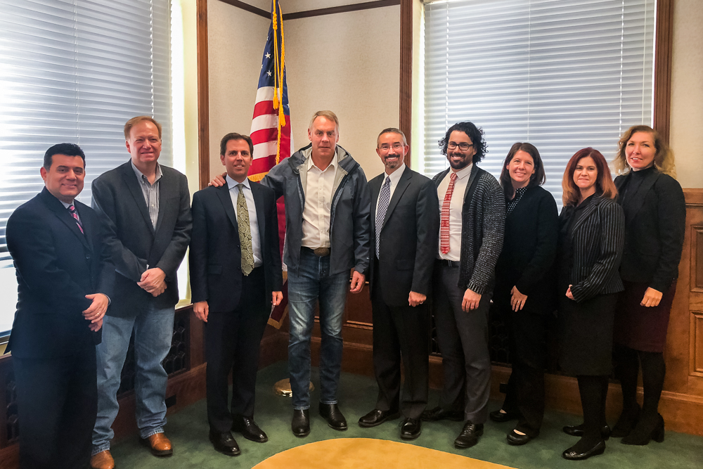 Reclamation Mid-Pacific Region staff brief Interior Secretary Ryan Zinke (center) on the Central Valley Project and other state-wide water matters in Maxwell, California Monday, Nov. 26, 2018.
