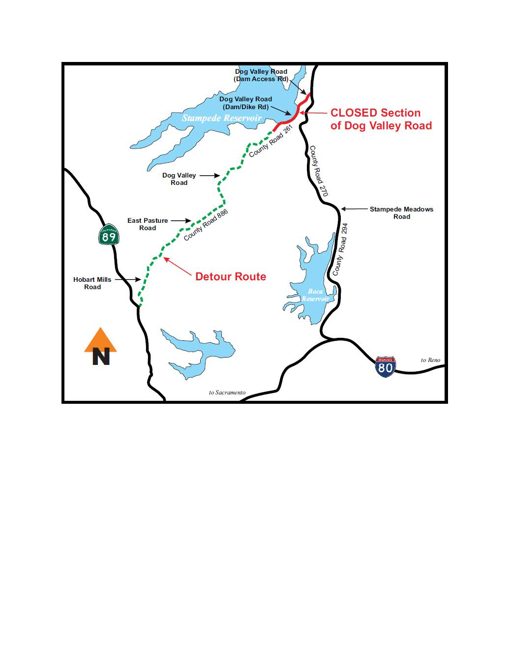 Noninteractive detour map to Stampede Reservoir during construction