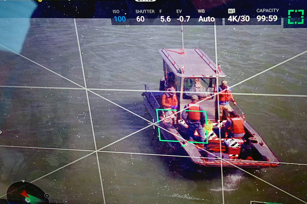 Drone image of USGS testing ship channel water