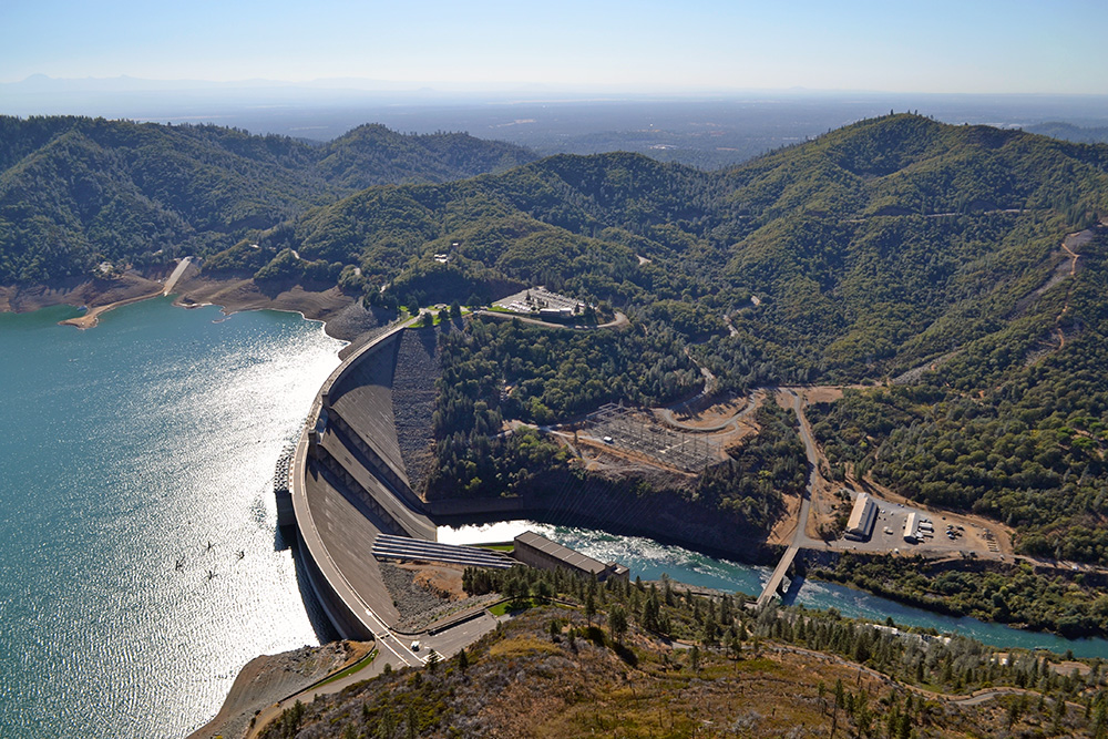 Aerial view of Shasta Dam and Reservoir