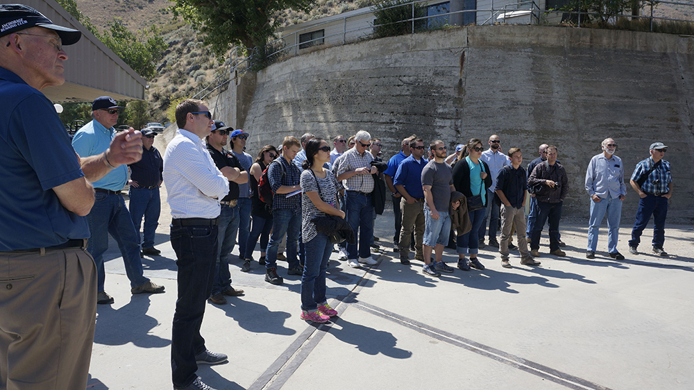 ASCE group is given a short briefing before touring the dam.