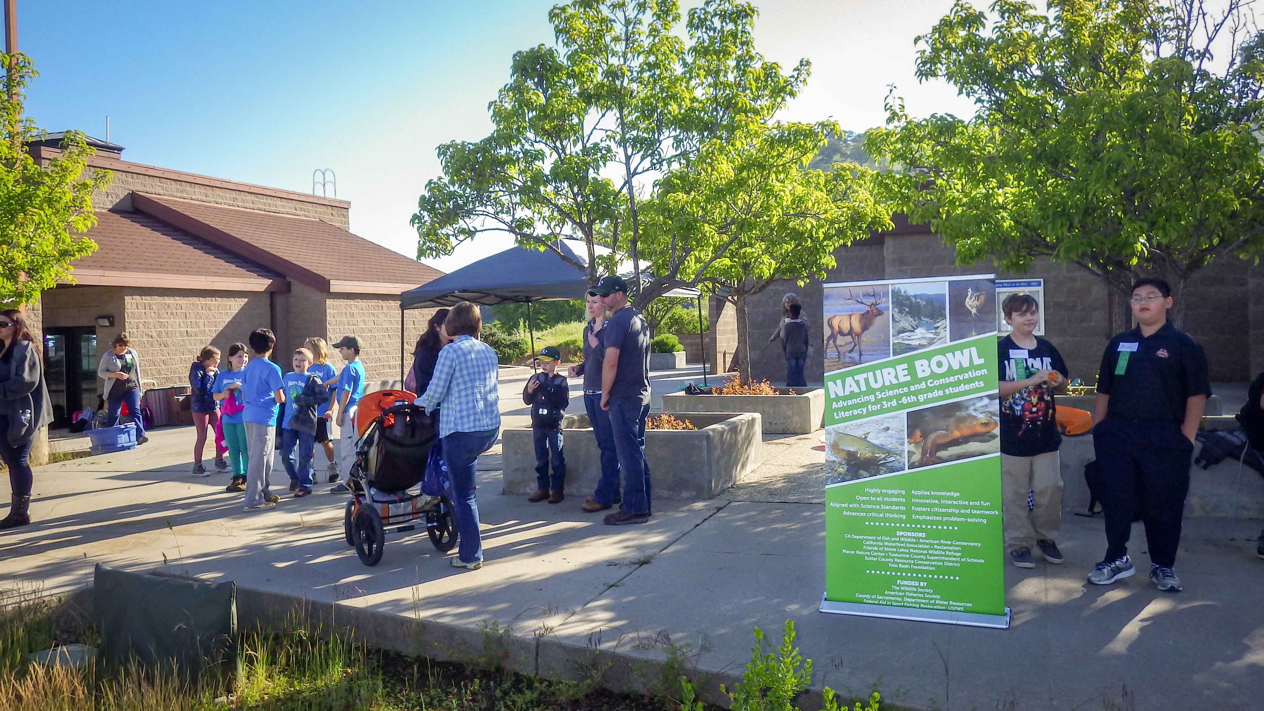 Students gather in front of the New Melones Lake Visitor Center in preparation for Nature Bowl.