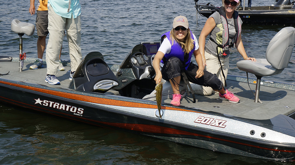 Participant showing off her catch at the Black Canyon C.A.S.T. event in Emmett, Idaho, August 19.