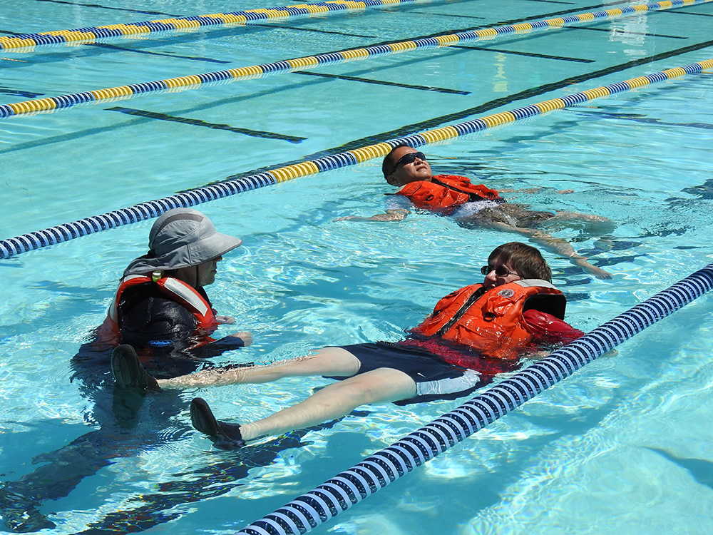 Testing the buoyancy of the life jacket.