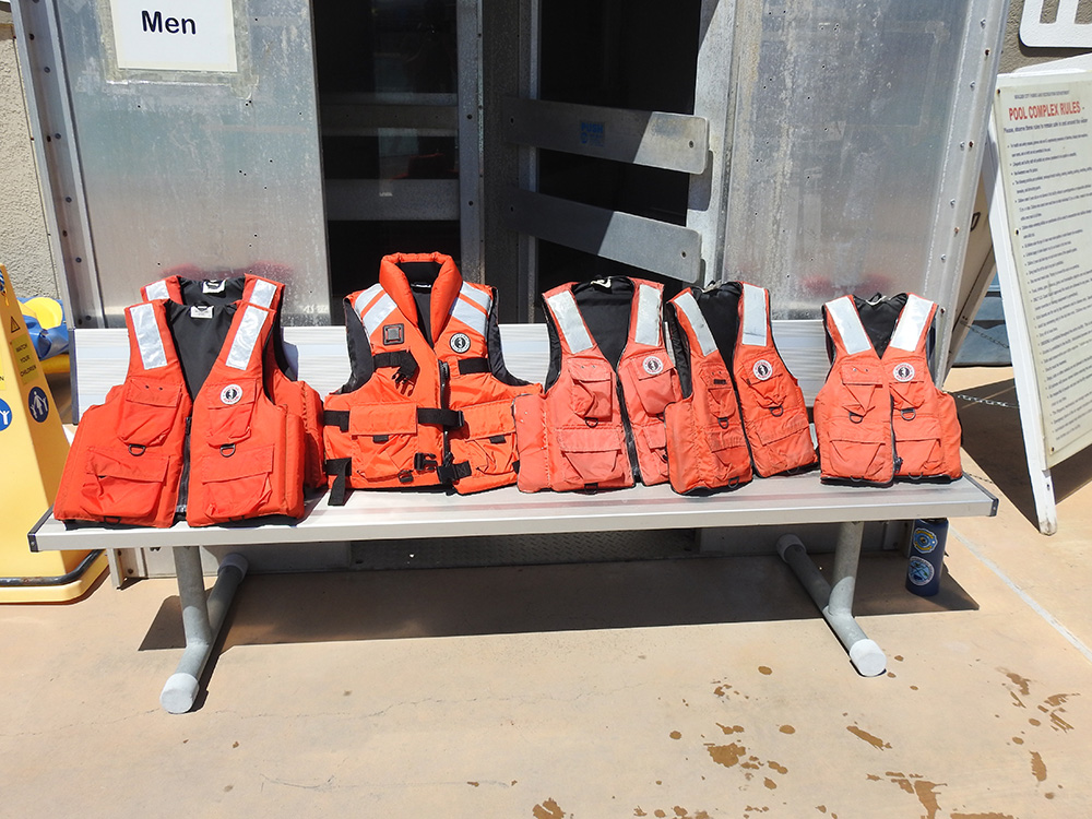 Various styles and sizes of life jackets.