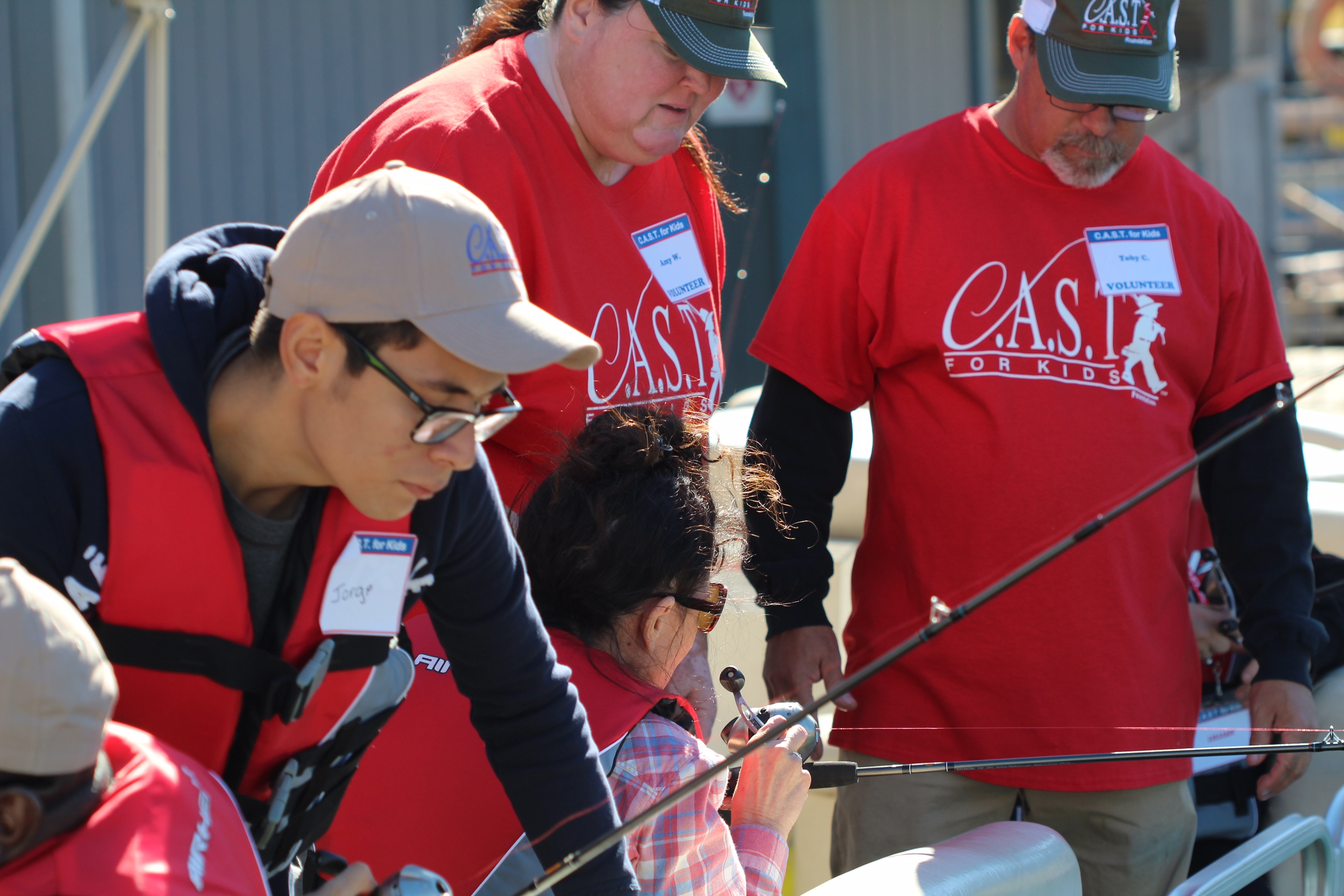 Looking for fish at the C.A.S.T. for Kids event at Lake Mead.
