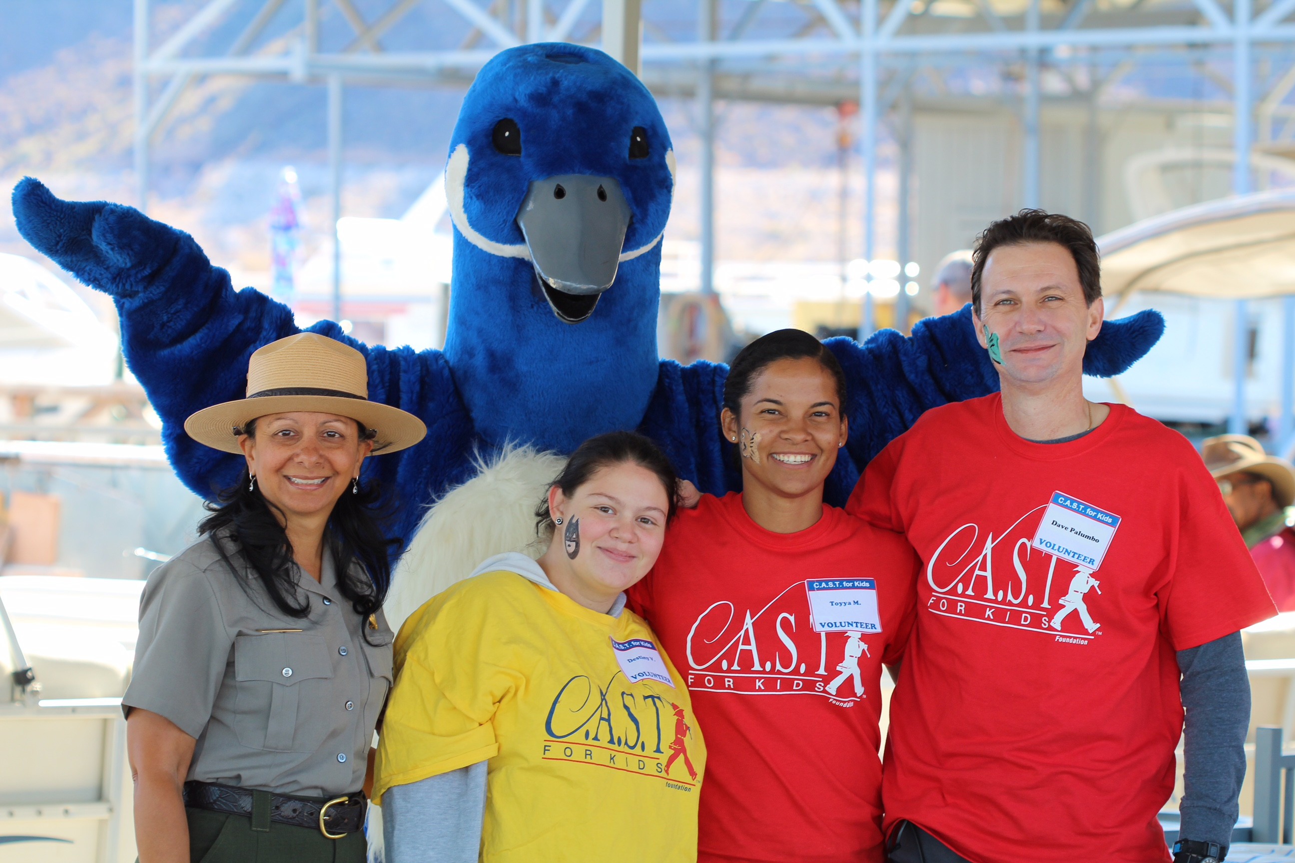 A group of volunteers at the C.A.S.T. for Kids event at Lake Mead, including Reclamation's Deputy Commissioner for Operations David Palumbo.