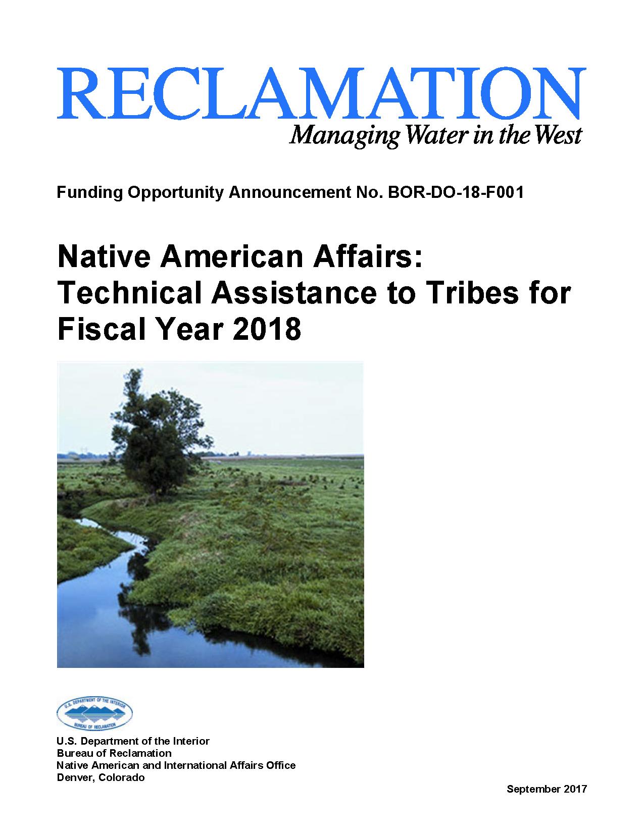 Native American Affairs: Technical Assistance to Tribes for Fiscal Year 2018 Funding Opportunity