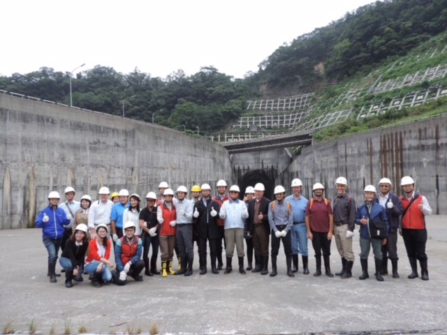 On a tour standing in front of Yuanshantzu Flood Diversion Tunnnel in Taiwan.