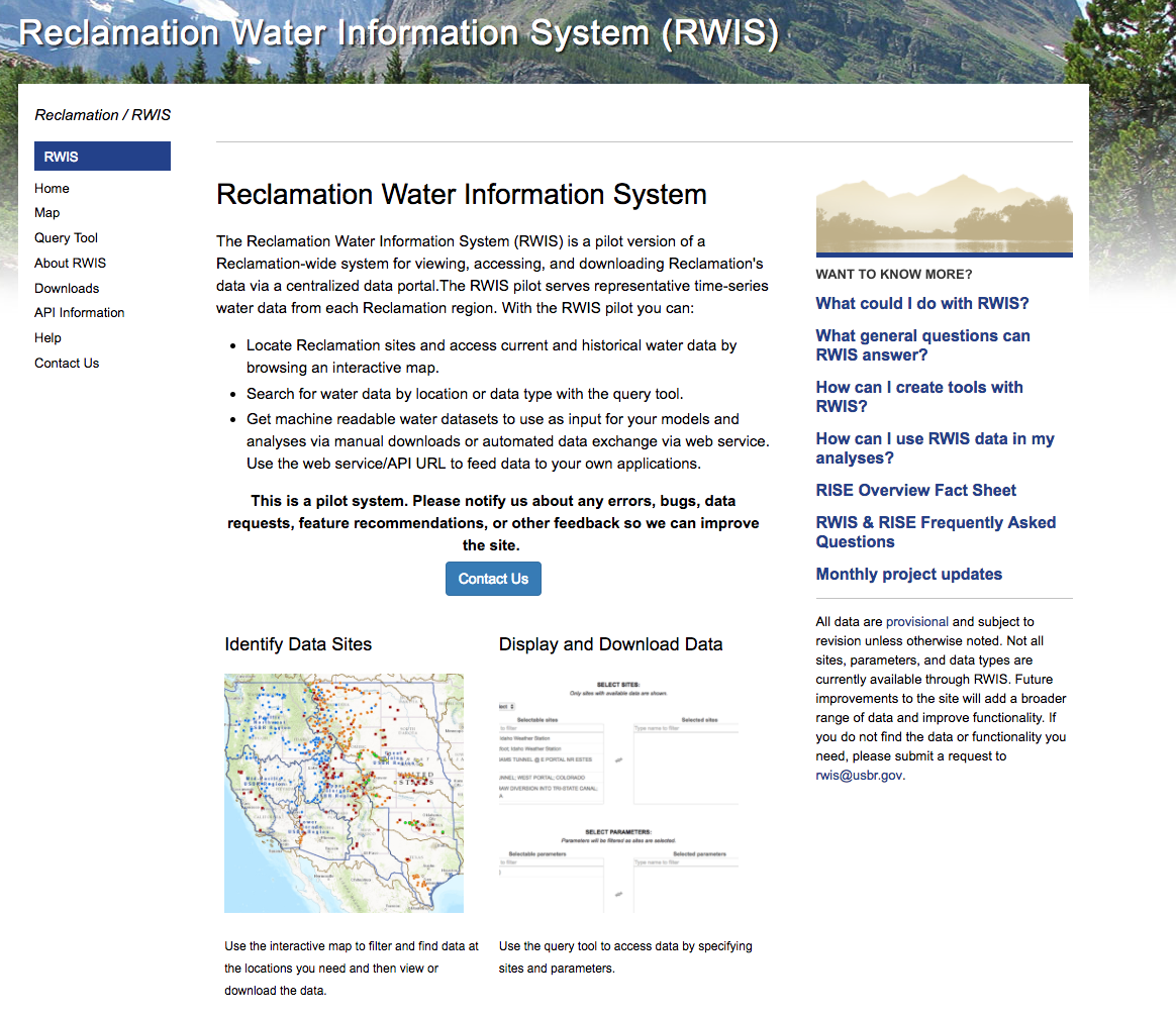 Reclamation Water Information System Screenshot