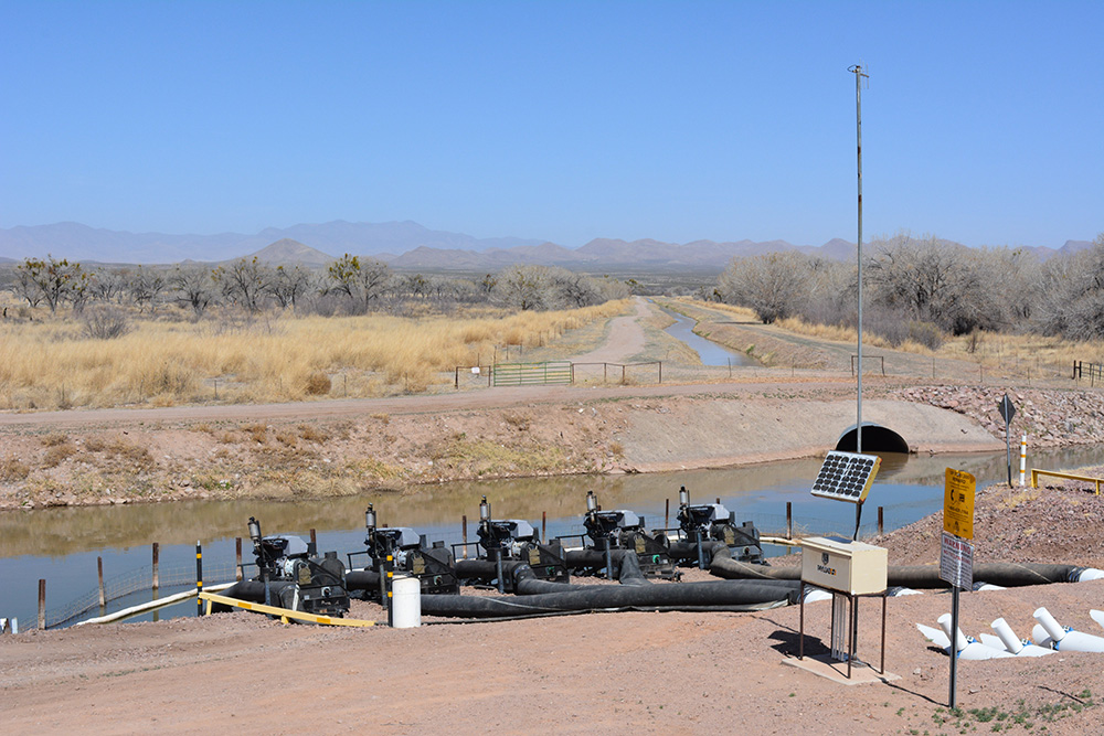Reclamation operates pumps to move water from the Low Flow Conveyance Channel into the Rio Grande. The LFCC acts as a drain for the lower part of the Middle Rio Grande.