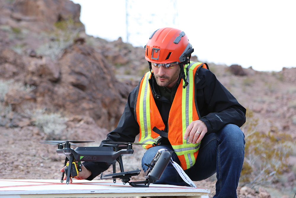 Matthew Klein operates a UAS for Reclamation during a rock fall analysis at Hoover Dam