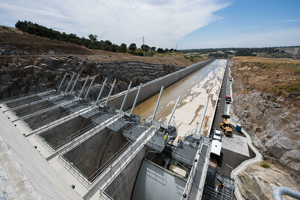 The completed Folsom Auxiliary Spillway project