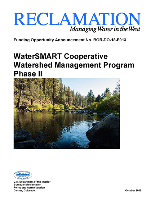Cover of 2018 Cooperative Watershed Management Program Phase II Funding Opportunity.