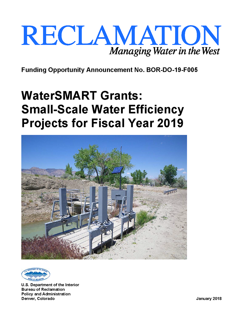 Cover of funding opportunity for small-scale water efficiency project document.
