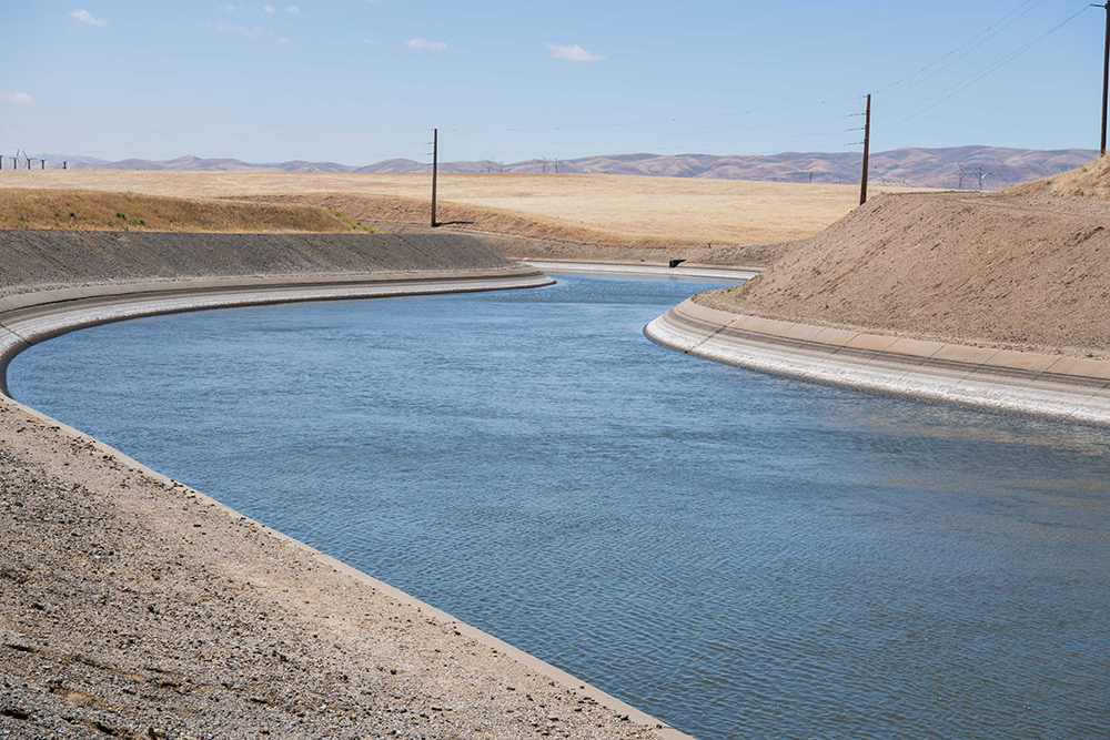Photo of the Delta-Mendota Canal which is part of the Central Valley Project in California.